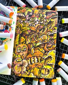 YeLlOw YeLlOw YeLlOw YeLlOw So yellow is my favorite color :] and I wanted to make a doodle with only yellow colors . I hope y'all like this if you do. Cute Doodle Art, Doodle Art Drawing, Doodle Sketch, Cute Doodles, Cool Art Drawings, Girl Drawing Images, Vexx Art, Doddle Art, Copic Marker Art