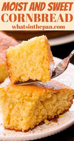 The moist cornbread recipe made with honey, butter and milk. The moist cornbread recipe made with honey, butter and milk. Easy Cornbread Recipe, Buttermilk Cornbread, Homemade Cornbread, Cornbread Recipe With Canned Corn, Honey Butter Recipe For Cornbread, Cornbread Recipe From Scratch, Sweet Cornbread Muffins, Healthy Cornbread, Fried Cornbread