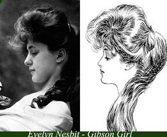 Early Long hair styles: Evelyn_Nesbit-The-Real-Gibson-Girl. Edwardian Era, Edwardian Fashion, Vintage Fashion, Victorian, Vintage Style, Evelyn Nesbit, Vintage Glamour, Vintage Beauty, Vintage Ladies
