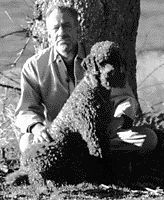 "John Steinbeck with his beloved Charley, a standard poodle who was the subject of his 1962 book ""Travels with Charley."""