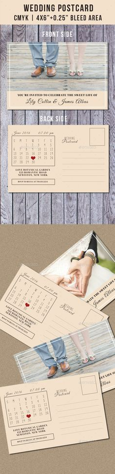 Make your wedding day unforgettable with this wedding postcard invitation with calendar template. Just insert your photo to the fr
