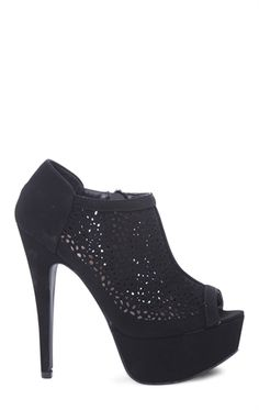Platform Bootie with Perforated Upper and Peep Toe