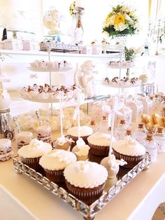 Cupcakes and sweets from a White Angel Baptism Party on Kara's Party Ideas   KarasPartyIdeas.com (20)
