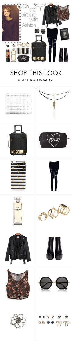 """""""✿ On the airport with Ashton Irwin ✿"""" by sarkata-boo-bear ❤ liked on Polyvore featuring ASOS, Moschino, Forever 21, Sonix, Frame Denim, Chanel, ALDO, Robert Clergerie, Passport and American Eagle Outfitters"""