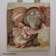 """Купить Сумка женская """"Мама и я"""" гобелен, ткань, текстиль, слон, слоненок - гобеленовая сумка"""