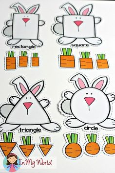 FREE Spring Preschool Centers Bunny and Carrots shape sorting activity