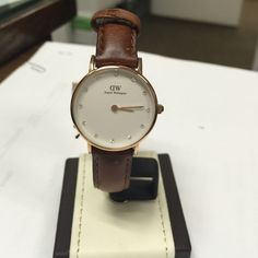 Daniel Wellington ladies watch! StAndrews 26mm Rose Gold with crystal as markers on dial! Brown leather strap, new with tags and box. Daniel Wellington Jewelry
