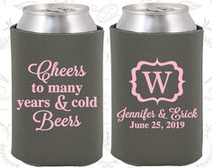 Cheers to Many Years and Cold Beers, Custom Wedding Favors, Monogram Wedding, Monogrammed Gifts,  Personalized Koozies (242)