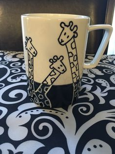 Giraffe mug, sharpie mug, DIY mug. Tall girl                                                                                                                                                      More