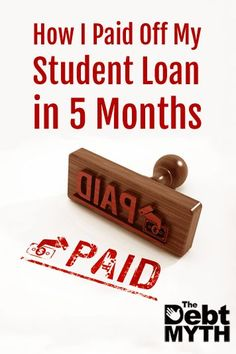 9 years after taking my student loan, I still owed almost half of what I'd borrowed. So I paid it off in 5 months. www.thedebtmyth.c...
