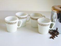 Vintage Pyrex Mugs - Woodland Pattern - Set of 4