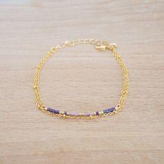 Bracelet double chaine plaqué or et petites perles