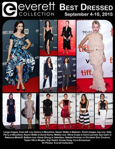 Large images, from left: Lily Collins in Moschino; Naomi Watts in Balmain. Small images, top row: Katy Perry in Moschino; Naomi Watts in David Koma. Middle row: Olivia Culpo in Saint Laurent; Aya Cash in Rebecca Minkoff. Bottom row: Alexa Chung in Valentino; Natalie Portman in Christian Dior Couture; Taylor Hill in Mugler; Gigi Hadid; Aimee Song; Cora Emmanuel. All Photos: Everett Collection