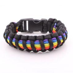 Rainbow Stripe Paracord Survival Bracelet, W/ Quick Release