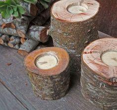 décoration DIY originale - des bougeoirs décoratifs en rondelles de bois
