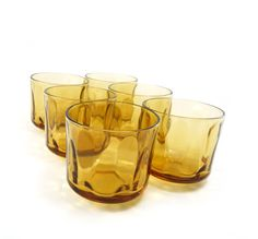 Vintage amber juice glasses, honey gold drinking, aperitif, 4oz, set of 6. $19.50, via Etsy.