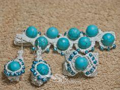Macramé set with stones bracelet earrings ring by Splatane on Etsy, €23.00
