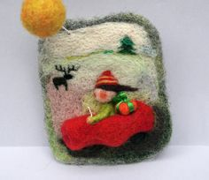 Felted jewelry  brooch Christmas vacation on country by vilnone