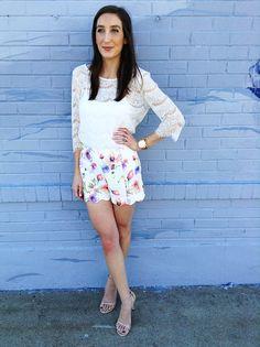 Watercolor Floral Shorts Via Little Mrs. Particular