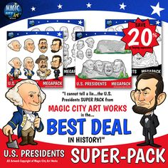 """Magic City Art Works: Educational Art From A Former Disney Artist  28 high resolution, high quality clip art images!  •Mt Rushmore •George Washington •Thomas Jefferson •Abraham Lincoln •Theodore """"Teddy"""" Roosevelt  Available on Teachers Pay Teachers! #presidents #presidentsday #july4 #usa #clipart"""