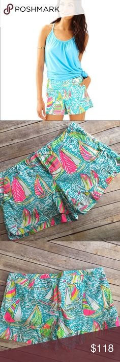 """🎉HP🎉 Size 14 You Gotta Regatta Addie 4"""" Short Size 14 You Gotta Regatta Addie 4"""" Short by Lilly Pulitzer. EUC. Out of stock. Super cute shorts!!! Essential preppy girl style. Exact measurements pictured. No trades price firm Lilly Pulitzer Shorts"""