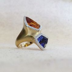 Tanzanite wishes and citrine dreams  blue and orange ring by Ricardo Basta Fine Jewelry