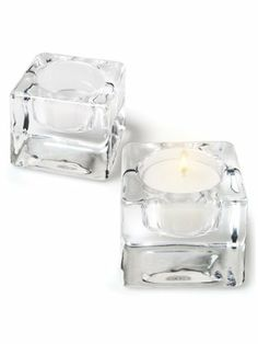 """Set 6 PCS 2"""" Clear Glass Square Block Tealite Tealight Tea Light Candle Holders by American Chateau. $38.99. Size: 1.9"""" H x 2.3"""" L x 2.3"""" W. Candle shown not included. Material: GLASS. Color: CLEAR. You get 6 Pieces. Color: CLEAR; Material: GLASS; Size: 1 9/10"""" H x 2 1/3"""" L x 2 1/3"""" W; You get 6 Pieces; Candle shown not included"""