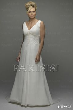 Plus Size Wedding Dress Satin Ivory V-Neck Long Corset-Lace-up-Back A-Line price USD $175 - PARISISI ONLINE DISCOUNT SHOP