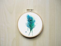 Watercolour Peacock Feather Modern Counted Cross Stitch Pattern | Instant PDF Download by RhiannonsCrossStitch on Etsy https://www.etsy.com/listing/242520668/watercolour-peacock-feather-modern
