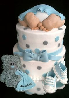 Baby Rump Baby Shower Cakeits A Boy Vanilla Cake With Buttercream Icing Fondant Accents Teddy Bear Baby Feetlegs Are Rice Krispie