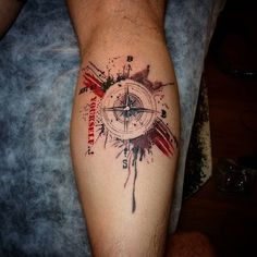 "compass, trash polka, tattoo. It would be good idea to write ""Wanderlust"" instead of ""Not be yourself"" ."