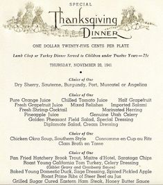 What was on the Thanksgiving menu in San Francisco before the great quake? And how much did early San Franciscan's pay for their feast? We went looking for archival menus from some popular restaurants of decades past and found a lot more than turkey. Quest Bars, Vintage Menu, Vintage Recipes, Vintage Food, Thanksgiving Quotes, Thanksgiving Sides, Restaurant Identity, Menu Restaurant, Diner Menu