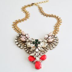 Fashion Jewelry Pink Color Resin Gems Bubble Bib Statement Crystal Fan necklace // Etsy // $35.95