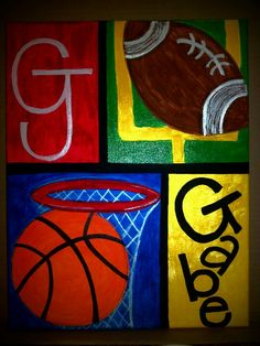I made this for my adorable nephew <3 Handpainted personalized Boys sport themed Canvas