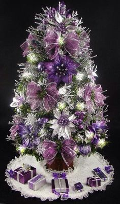 Cristhmas Tree Decorations Ideas : Mini Tabletop Christmas Tree Purple and Silver 17 Inches 35 Clear Mini Lights Tree Skirt Matching Presents Tabletop Christmas Tree, Noel Christmas, All Things Christmas, White Christmas, Christmas Ornaments, Christmas Photos, Christmas Ideas, Coastal Christmas, Christmas Colors