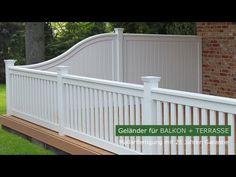 Geländer für Balkon + Terrasse - Harholz WEISS + RAL mit 25 Jahren Garantie - Maßanfertigung Outdoor Stairs, Fence Gate, House Extensions, Porch, Sweet Home, Deck, Diy Projects, Patio, Architecture