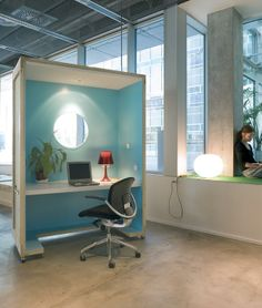 We like the porthole window, integrated overhead LED lighting, and the office on wheels idea, all good ideas to steal for a loft space home office. Home Office, Office Cube, Office Pods, Office Decor, Office Chairs, Office Cubicle Design, Work Cubicle, Mobile Office, Workspace Inspiration