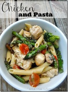Yummy Chicken and Pasta w/ asparagus, broccoli, grape tomatoes and mushrooms
