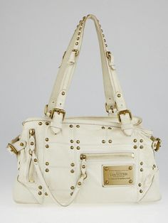 96b84df5e8f7 Louis Vuitton Limited Edition Ecru Lambskin Leather Riveting Bag