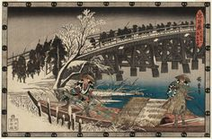 Utagawa Hiroshige Title:Act XI, Part 1: The Night Attack Advances (Jûichidanme ichi, youchi oshiyose), from the series The Storehouse of Loyal Retainers (Chûshingura) Date:1835-39