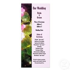 Designs by Susan Savad - Begonias by Stone Wall Wedding Program -- XXX wedding program that you can customized yourself.  #wedding  #weddingprogram #customize #flower #flowers #begonia #begonias #spring   $0.55  per card   BULK PRICING AVAILABLE!