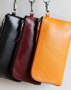 Handmade Genuine leather phone clutch purse long wallet purse clutch women
