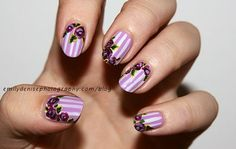 Purple Striped Floral Nail Design