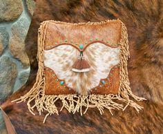Western art pillow vintage style tan tooled by stargazermercantile,