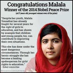 I saw this yesterday on the news.   Mahala is trying to be used to give women and girls the rights in other countries to get an education and be treated more equally.  Old cultures still exist and there are so many in need of help.  Congratulations Mahala on winning the peace prize, the youngest ever.
