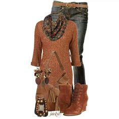 Rust long sweater and jeans for the fall