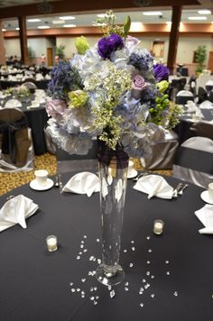 Blue and Purple Tall Centerpiece-Winter Soire Wedding by Designed Sealed and Delivered