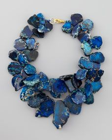 """earthy necklace crafted from electric blue jasper to frame your face. You'll love how this stunner sparks conversation—perfect for cocktail parties! Two strands of organically shaped, variegated blue jasper beads. Shortest strand is 18""""L; longest is 23""""L. Golden lobster clasp."""