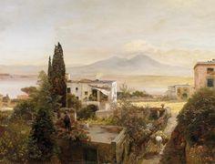 Oswald Achenbach: In der Bucht von Neapel mit Blick auf den Vesuv aus unserer Rubrik: Gemälde des 19. Jahrhunderts