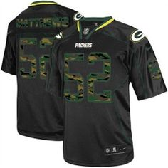 Men's Nike Green Bay Packers #52 Clay Matthews Elite Camo Fashion Black Jersey